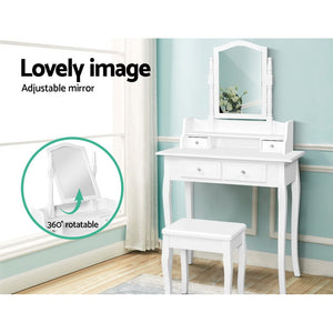 Dressing Table Stool Mirror Jewellery Cabinet White Tables Drawers Box Organizer