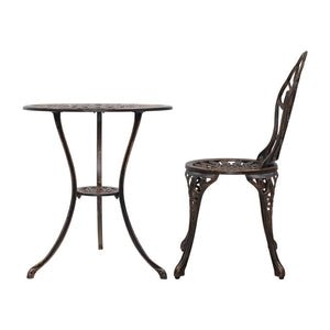 Gardeon 3PC Outdoor Setting Cast Aluminium Bistro Table Chair Patio Bronze