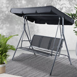 Swing Chair Outdoor Furniture Hanging Chairs Hammock 3 Seater Canopy Garden Bench Seat Patio Gardeon Lounger Cushion Backyard Park Black