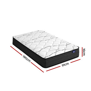 Giselle Bedding Single Size Mattress Bed Medium Firm Foam Bonnell Spring 16cm