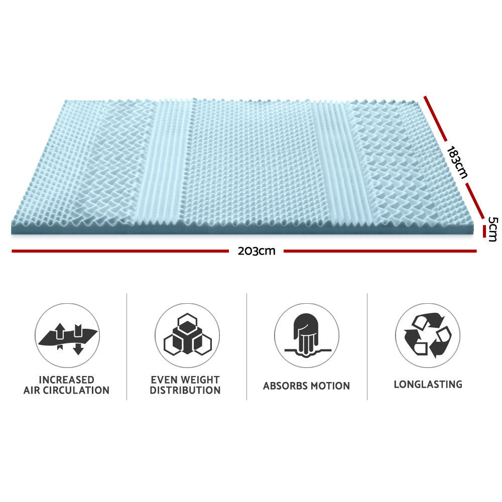 Giselle Bedding Cool Gel Memory Foam Mattress Topper Bamboo Cover 5CM 7-Zone King