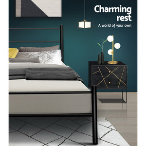 Artiss Metal King Single Bed Frame - Black