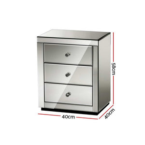 Artiss Mirrored Bedside table Drawers Furniture Mirror Glass Presia Smoky Grey