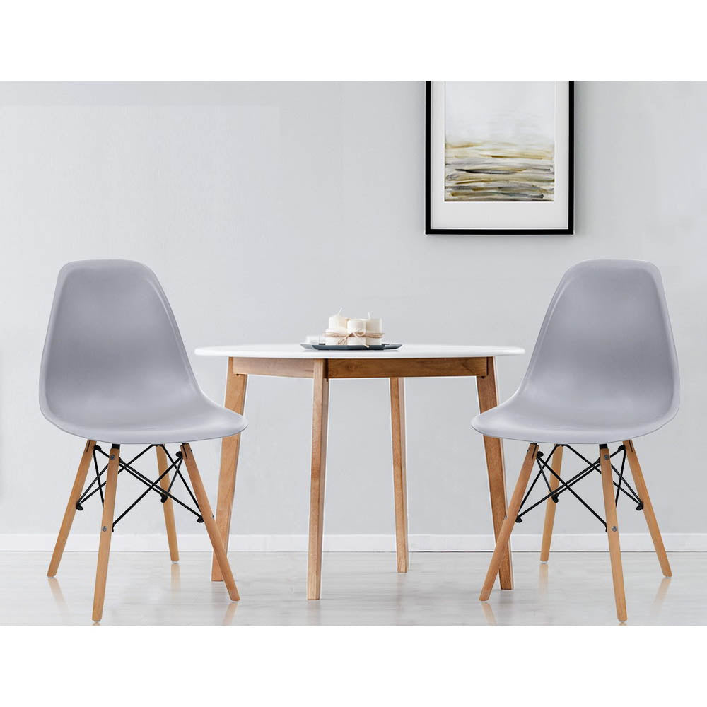 Artiss 4x Retro Dining DSW Chairs Kitchen Cafe Beech Wood Legs Grey