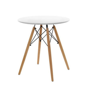 Artiss Round Dining Table 4 Seater 60cm Cafe Kitchen Retro Timber Wood MDF Tables White
