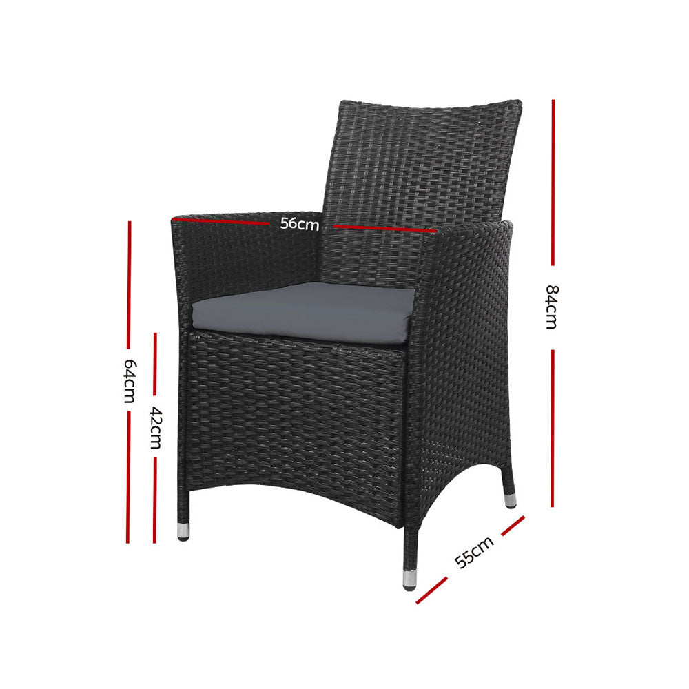 Outdoor Bistro Set Chairs Patio Furniture Dining Wicker Garden Cushion x2 Gardeon