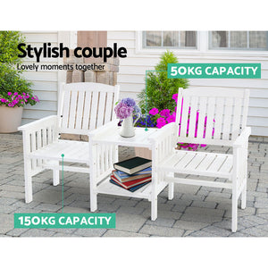 Gardeon Garden Bench Chair Table Loveseat Wooden Outdoor Furniture Patio Park White