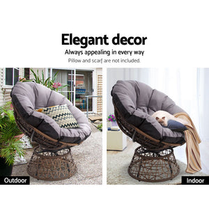 Gardeon Papasan Chair and Side Table - Brown