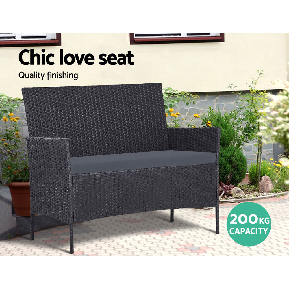 Gardeon Garden Furniture Outdoor Lounge Setting Wicker Sofa Patio Storage cover Grey