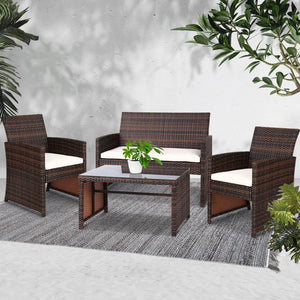 Gardeon Set of 4 Outdoor Rattan Chairs & Table - Brown