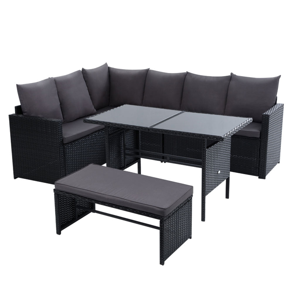 Gardeon Outdoor Furniture Dining Setting Sofa Set Lounge Wicker 8 Seater Black