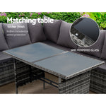 Gardeon Outdoor Furniture Dining Setting Sofa Set Wicker 8 Seater Storage Cover Mixed Grey