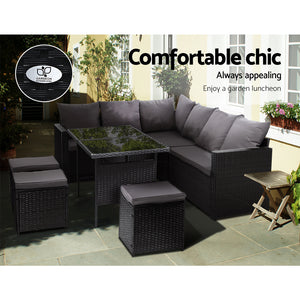 Gardeon Outdoor Furniture Dining Setting Sofa Set Wicker 9 Seater Storage Cover Black