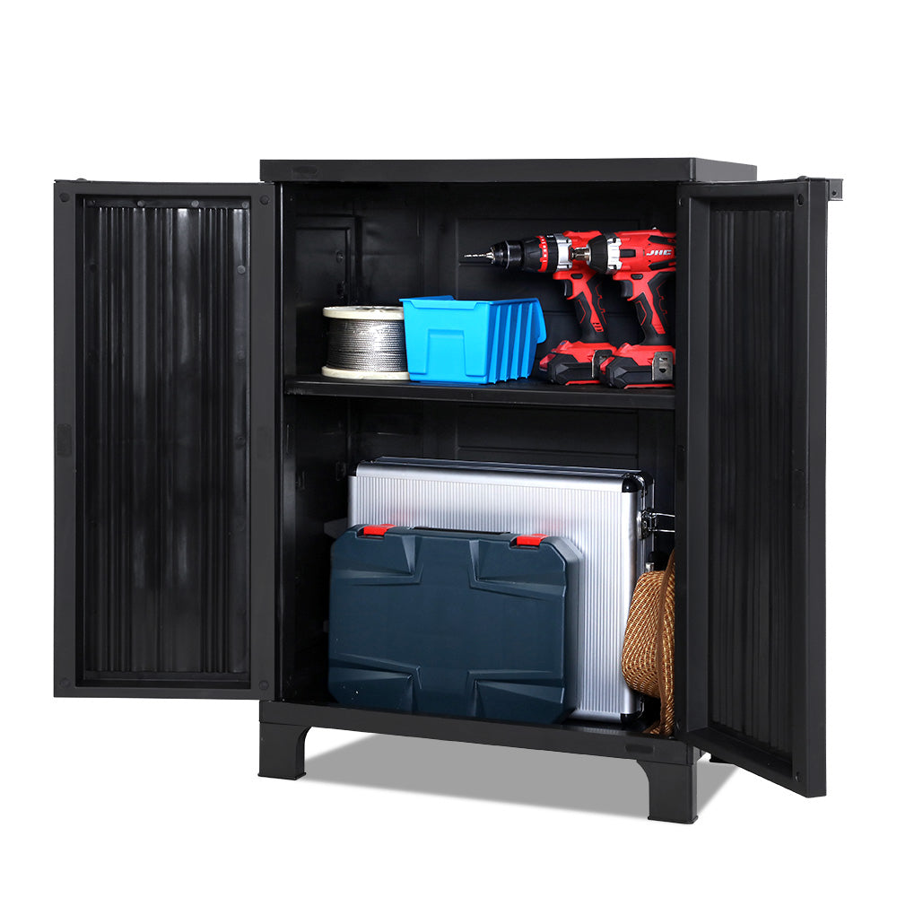 Gardeon Outdoor Storage Cabinet Cupboard Lockable Garden Sheds Adjustable Black