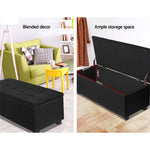 Artiss Large Fabric Storage Ottoman - Black