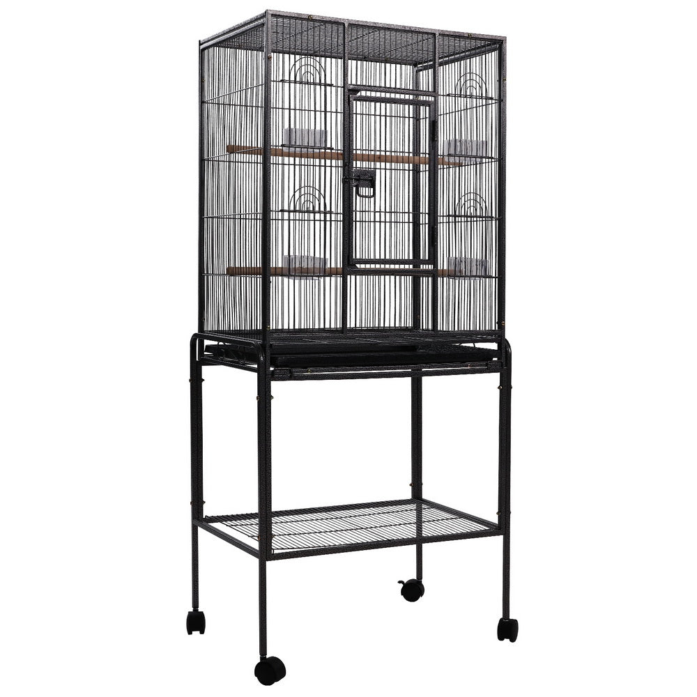 i.Pet Large Bird Cage with Perch - Black