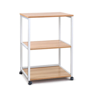 Portable Mobile Printer Stand 3-Tier Storage Shelf Rack Wooden Trolley