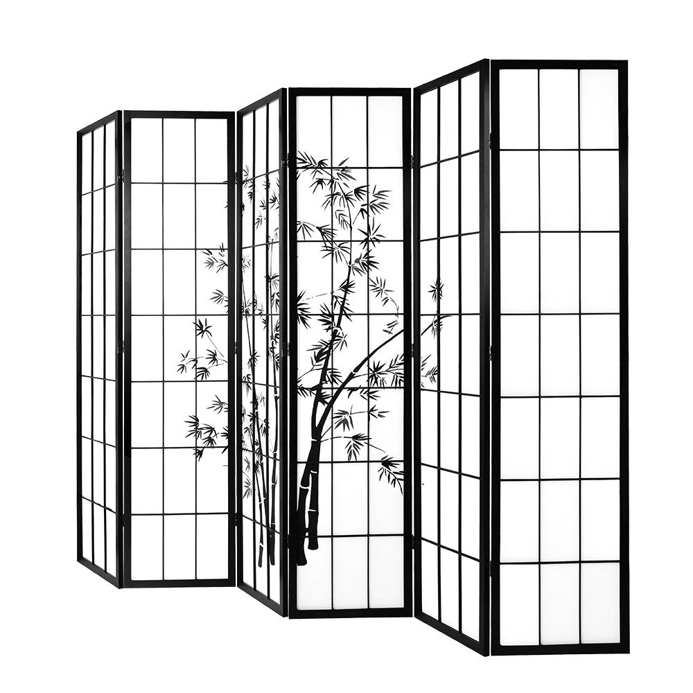 Artiss 6 Panel Room Divider Screen Privacy Dividers Pine Wood Stand Black White