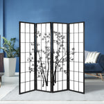 Artiss 4 Panel Room Divider Screen Privacy Dividers Pine Wood Stand Shoji Bamboo Black White