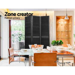 Artiss 3 Panel Room Divider Screen Privacy Wood Dividers Timber Stand Black