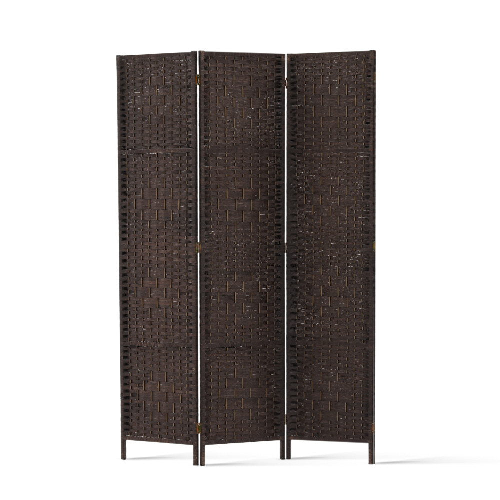 Artiss 3 Panel Room Divider Privacy Screen Rattan Woven Wood Stand Brown