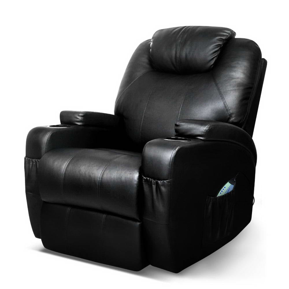 Artiss Recliner Chair Electric Massage Chairs Heated Lounge Swivel Sofa Leather