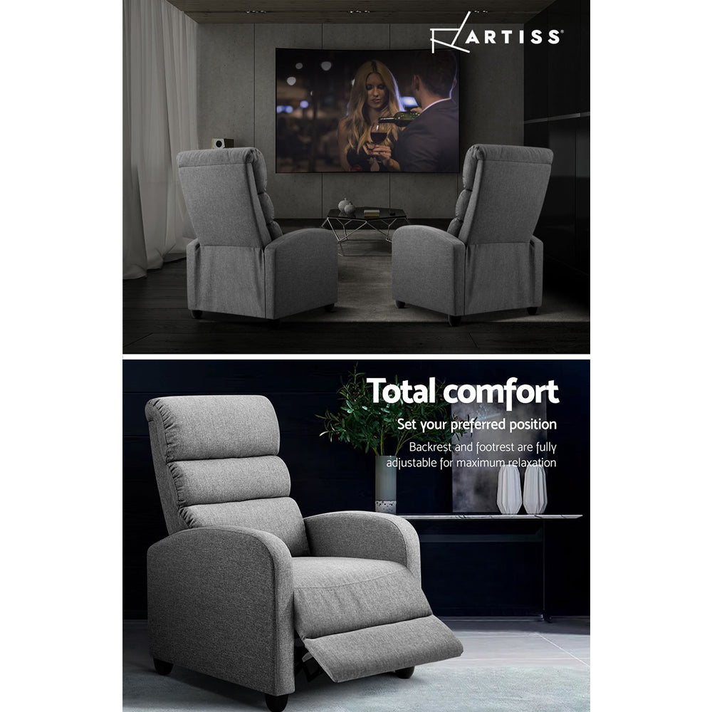 Artiss Luxury Recliner Chair Chairs Lounge Armchair Sofa Fabric Cover Grey