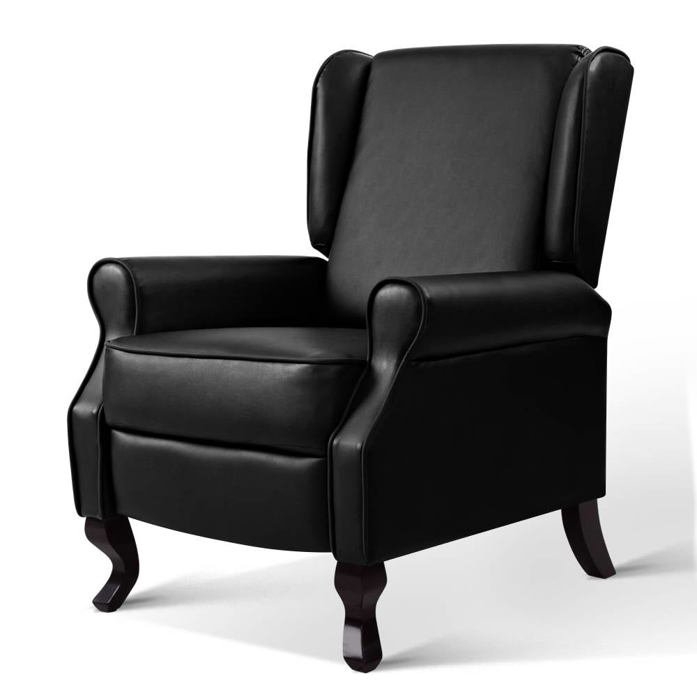 Artiss Recliner Chair Luxury Lounge Armchair Single Sofa Couch Leather Black
