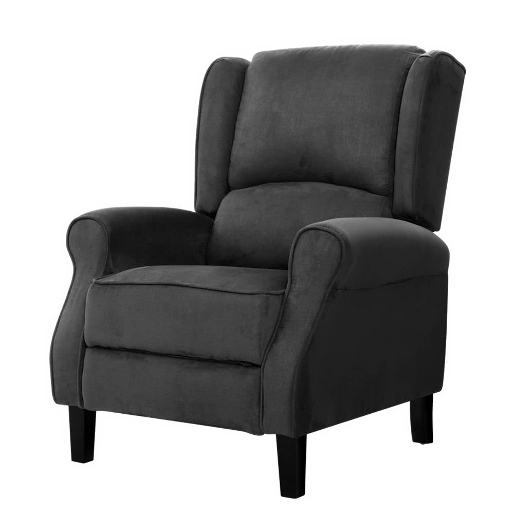 Artiss Recliner Chair Adjustable Sofa Lounge Soft Suede Armchair Couch Black
