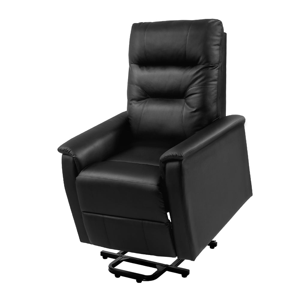 Artiss Lift Recliner Chair Sofa Single Comfortable Black Leather Armchair
