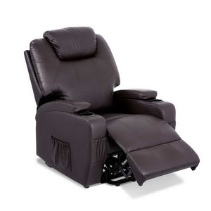 Artiss Electric Recliner Lift Chair Massage Armchair Heating PU Leather Brown