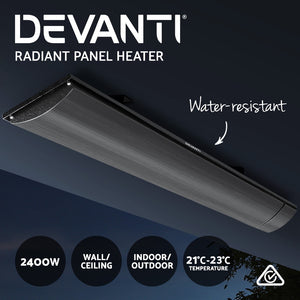 Devanti 2x Electric Radiant Strip Heater Panel Outdoor Heating Heat Bar 2400W