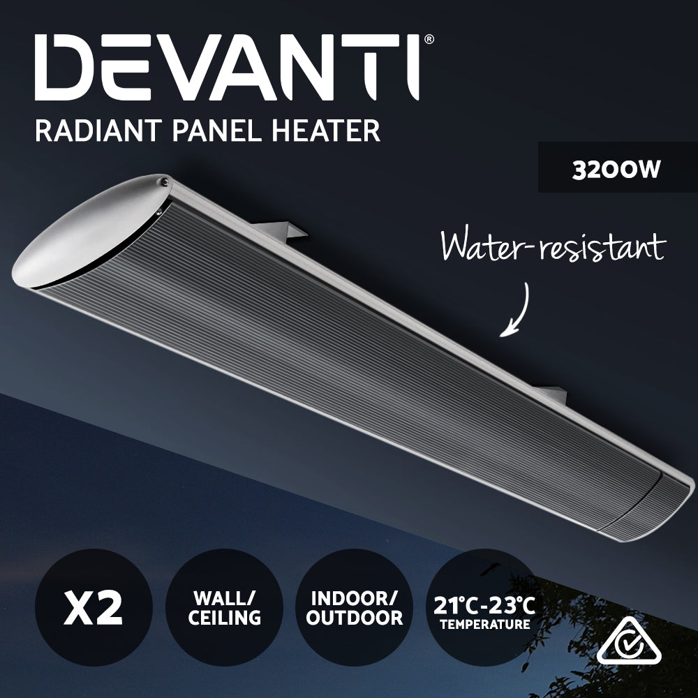 Devanti 2x 3200W Electric Strip Heater Infared Radiant Panel Heaters Outdoor Grey