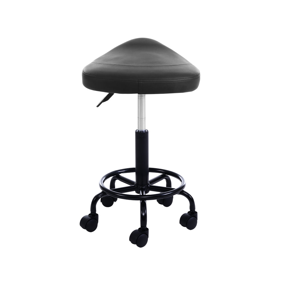 Artiss Salon Stool Black Swivel Barber SADDLE Hairdressing Bar Chairs Gas Lift