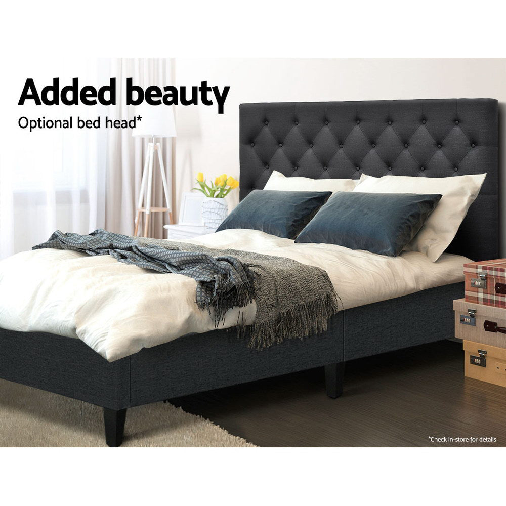 Artiss Bed Base Queen Size Frame Fabric Charcoal