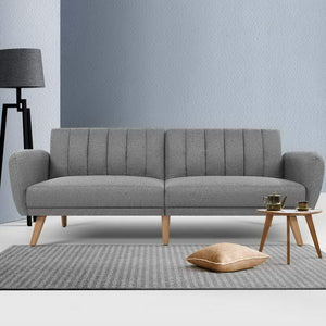 Artiss Sofa Bed Lounge 3 Seater Futon Couch Recline Chair Wooden 207cm Fabric Grey