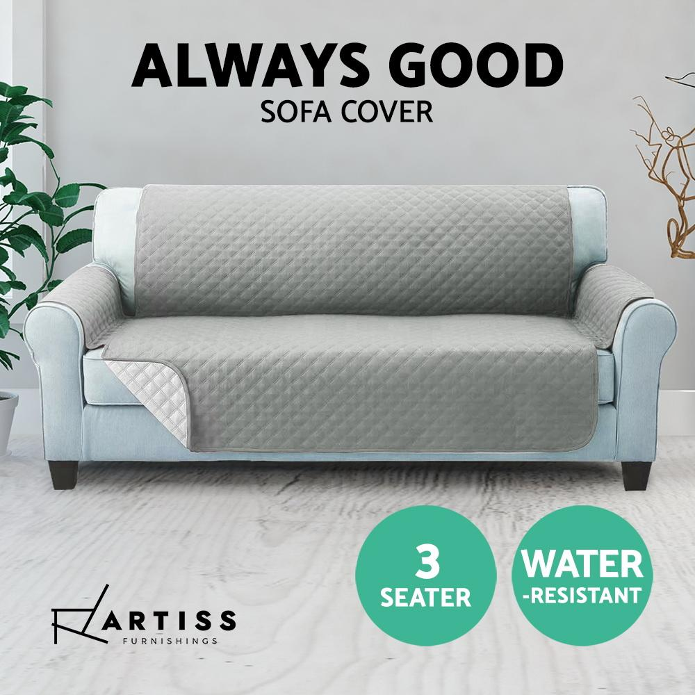 Artiss Sofa Cover Quilted Couch Covers Protector Slipcovers 3 Seater Grey