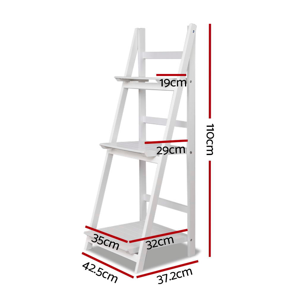 Artiss Display Shelf 3 Tier Wooden Ladder Stand Storage Book Shelves Rack White