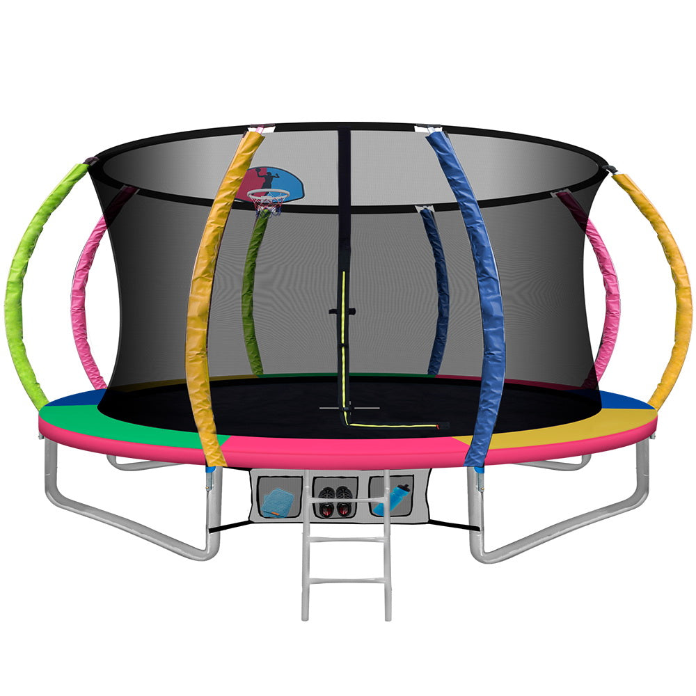 Everfit 12FT Trampoline Round Trampolines With Basketball Hoop Kids Present Gift Enclosure Safety Net Pad Outdoor Multi-coloured