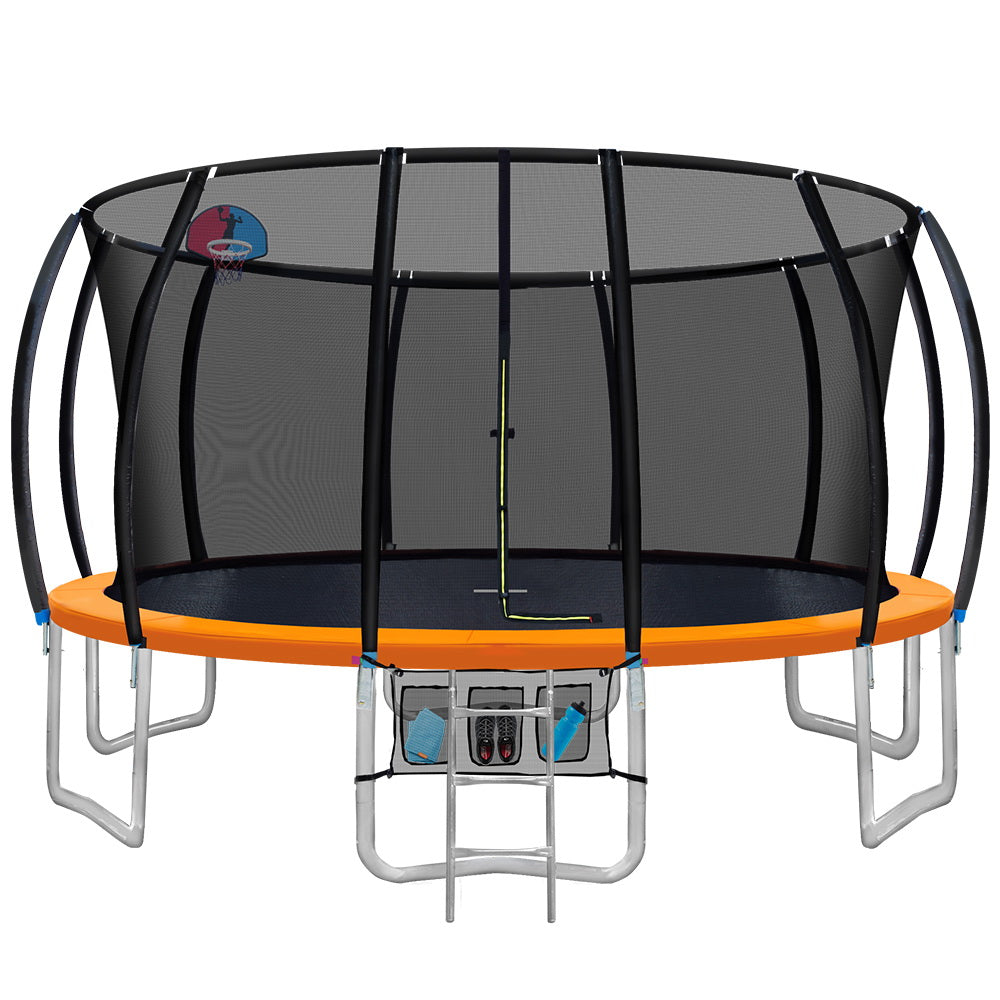 Everfit 16FT Trampoline Round Trampolines With Basketball Hoop Kids Present Gift Enclosure Safety Net Pad Outdoor Orange