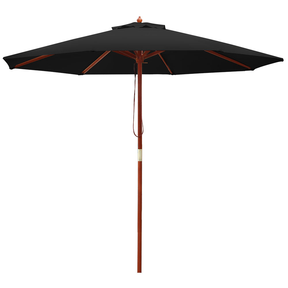 Instahut 2.7M Outdoor Pole Umbrella Cantilever Stand Garden Umbrellas Patio Black