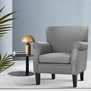 Artiss Armchair Accent Chair Retro Armchairs Lounge Accent Chair Single Sofa Linen Fabric Seat Grey