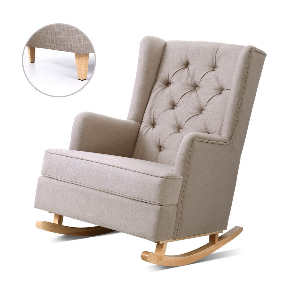 Artiss Rocking Armchair Feedining Chair Fabric Armchairs Lounge Recliner Beige