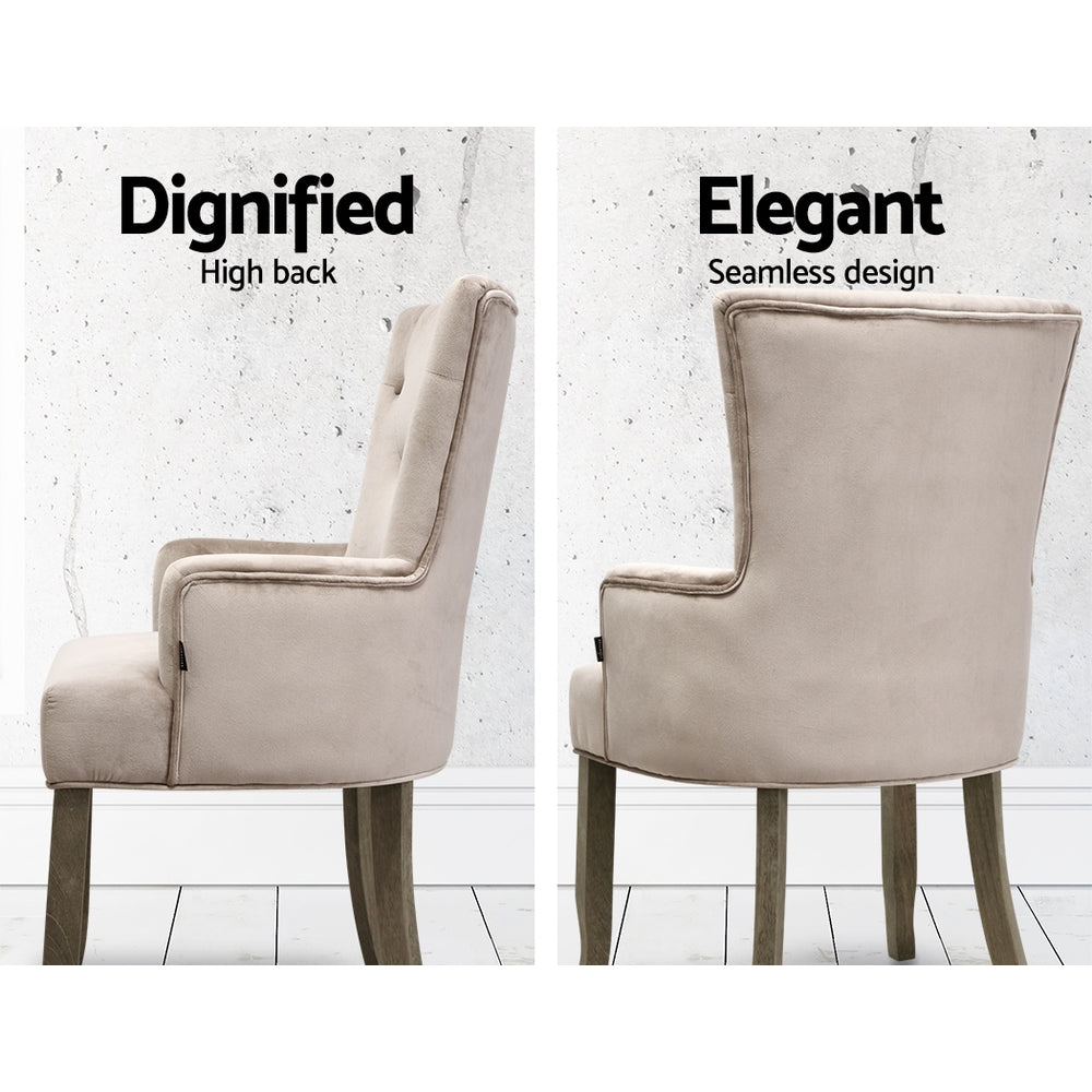 Artiss Dining Chairs French Provincial Chair Velvet Fabric Timber Retro Camel