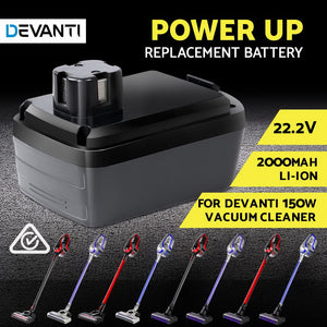 Li-ion Battery Pack 2000mAH 22.2V Replacement for Devanti 150W Vacuum Cleaner