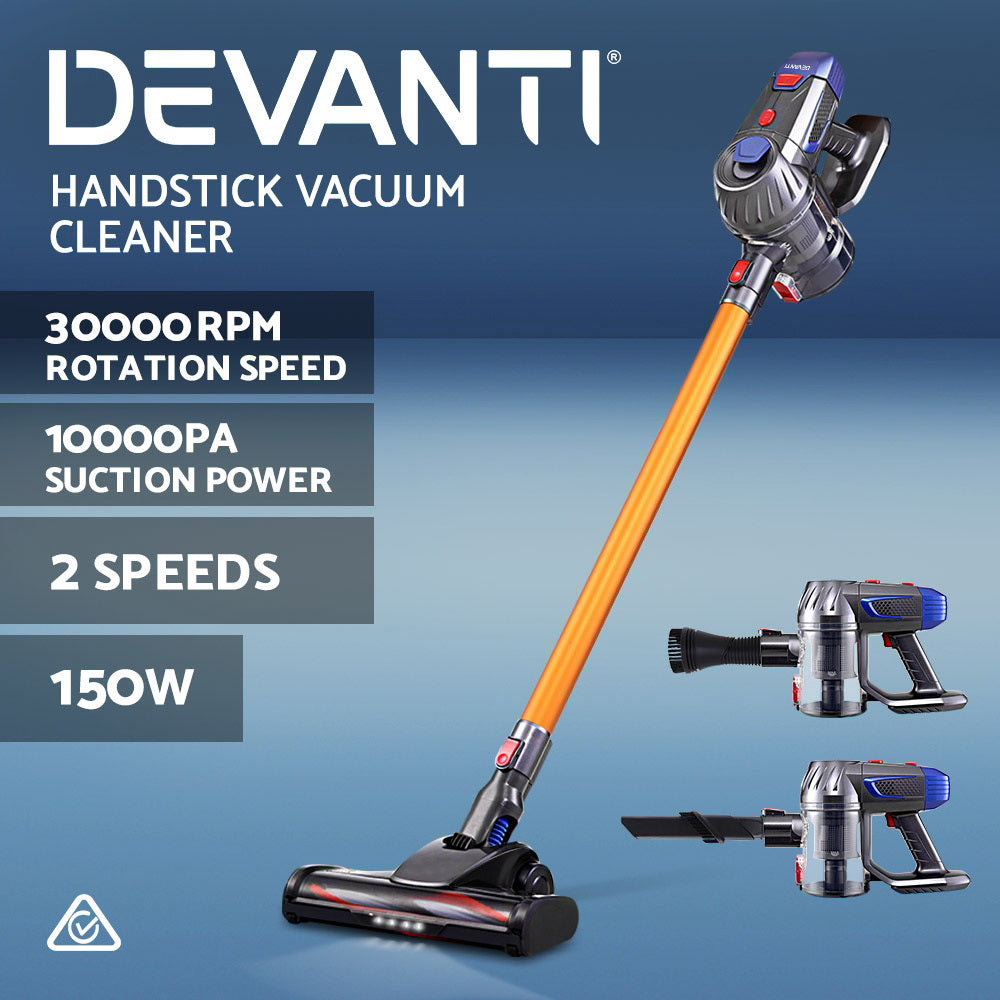 Devanti Handheld Vacuum Cleaner Cordless Stick Handstick Car Vac Bagless 2-Speed LED Headlight Gold
