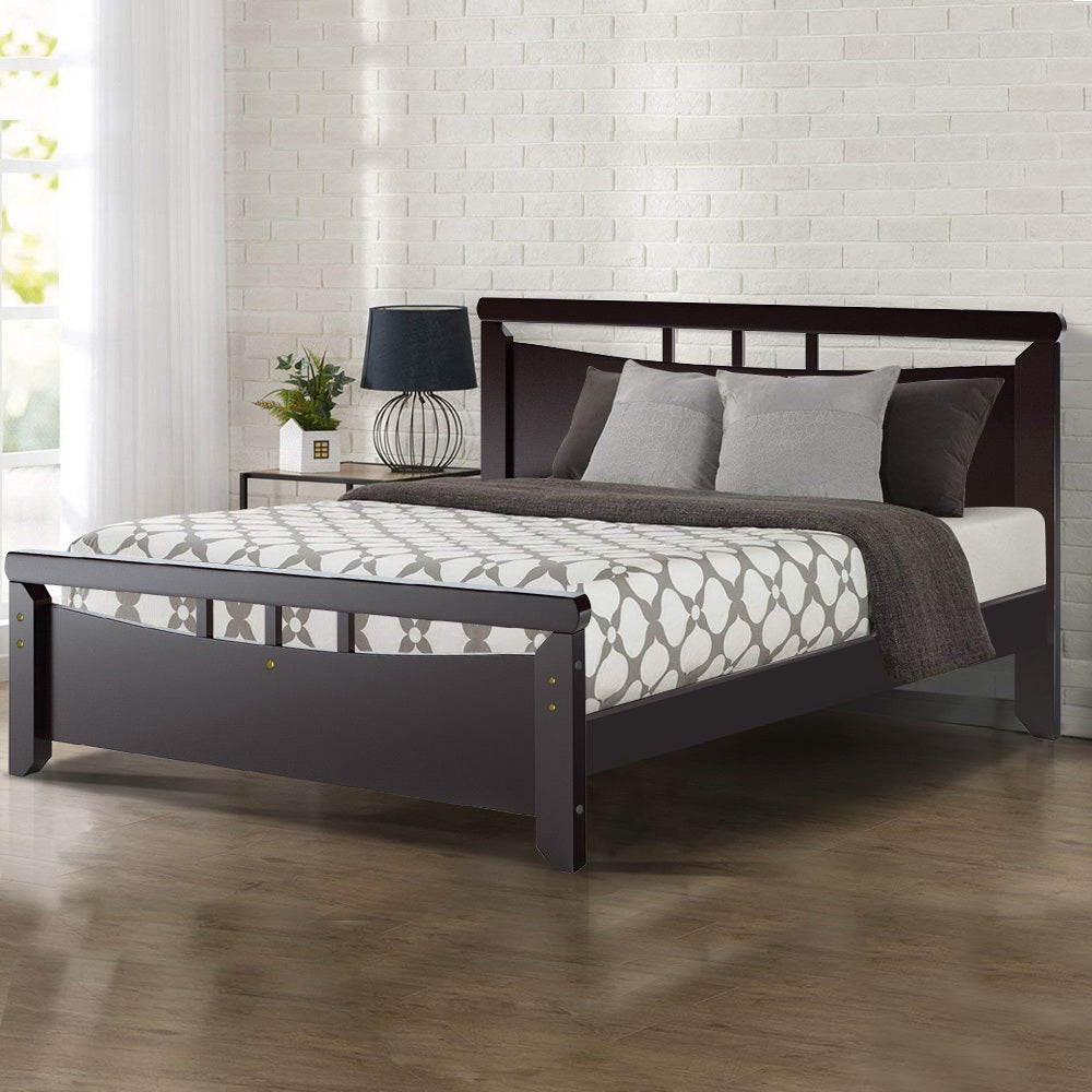 Artiss Queen Size Wooden Bed Frame - Dark Cherry
