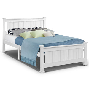 Double Size Wooden Bed Frame - White