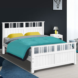 Artiss Wooden Bed Frame Timber Double Full Size EVA Kids Adults Mattress Bed Base
