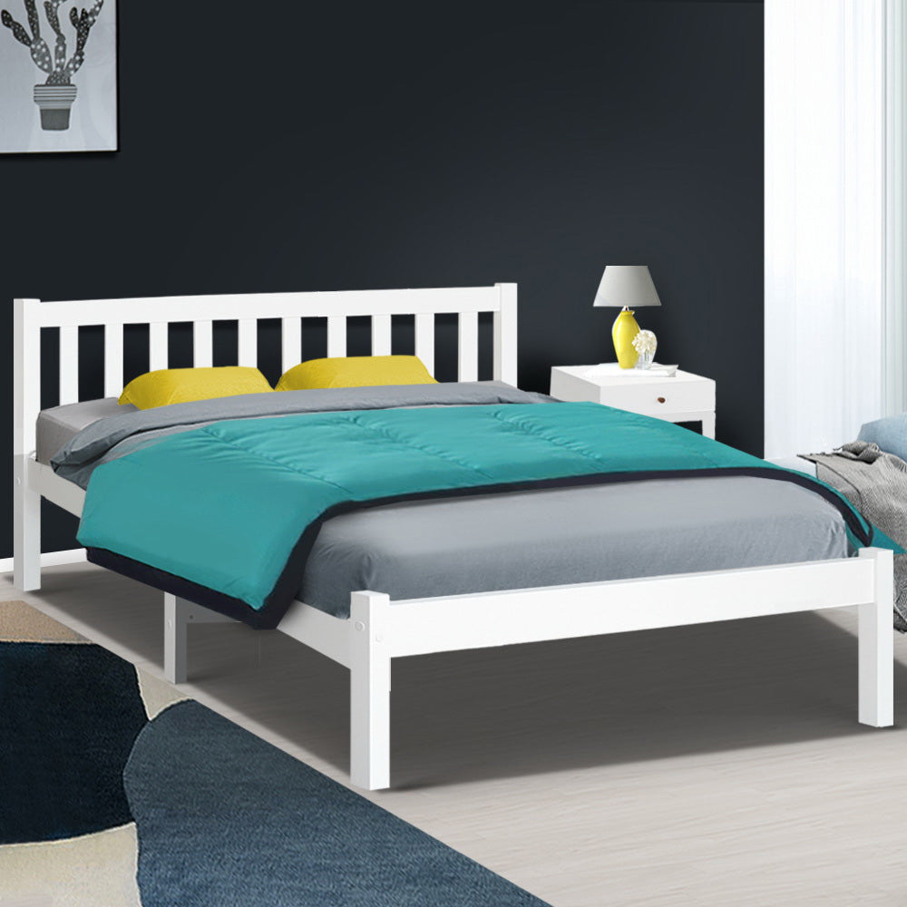 Artiss Wooden Bed Frame Queen Size White Wooden Pine Timber Mattress Base Bedroom SOFIE